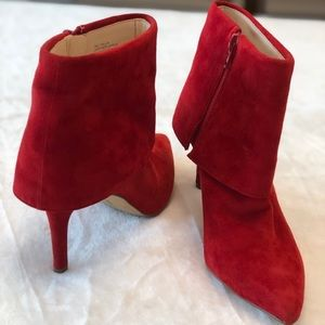 I.N.C red suede ankle boots. Size 6
